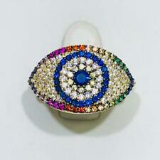 Yellow Gold Sterling Silver Rainbow Sapphire Evil Eye Pave Band Halo Ring Sz 10