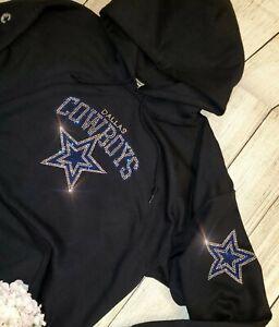 New Women's Dallas Cowboys Unisex Size L Hoodie Sweatshirt Rhinestones