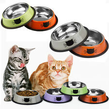 Anti Skid Stainless Steel Cat Dog Pet Food Water Dish Bowl Feeding Feeder Tool
