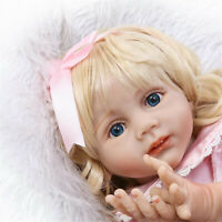 "Blonde Reborn Toddler Girl 24"" Soft Reborn Baby Dolls Golden Hair Princess Girl"