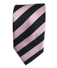 Men's black and pink color stiped  woven  tie