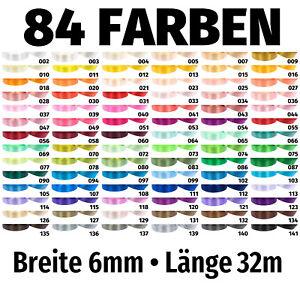 32m x 6mm Satinband Schleife Band Dekoband Geschenkband Deko 84 Farben zur Wahl
