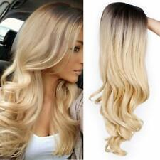 Dark Brown Root to Gold Ombre Long Wavy Curly Blonde Wig Women Synthetic Hair