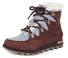 Sorel Women's Sneakchic Alpine Boots - Cattail, Red, Brown - Size 9.5M