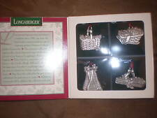 Longaberger 1994 First 4 Christmas Basket Pewter Ornaments - Nib