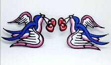 Pair Tattoo Swallows & Cherry Embroidered Iron on patch j68