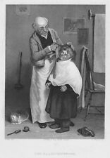 Hair Clipper, hairdresser, Original Steel Engraving from 1842
