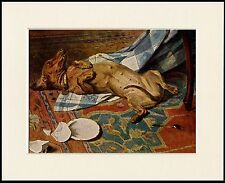 DACHSHUND NAUGHTY DOG AND WRECKED TABLE CHARMING PRINT MOUNTED READY TO FRAME