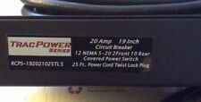 """TracPower 19"""" Rackmount 25 Ft Basic Power Distribution 12 Outlet Strip 20A 120V"""