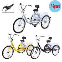 Ridgeyard 24'' 3 Wheel Unisex Adult Tricycle Trike Cruise 7 speed Backrest
