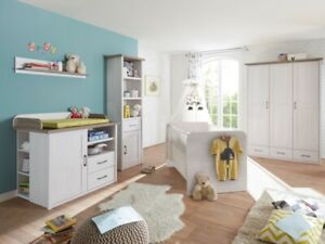 5 TEILE Babyzimmer Luca Kinderzimmer Komplettset Babybett Wickelkommode Schrank