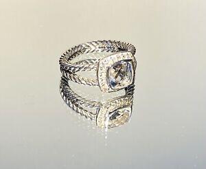David Yurman Petite White Topaz and Diamond Albion Ring