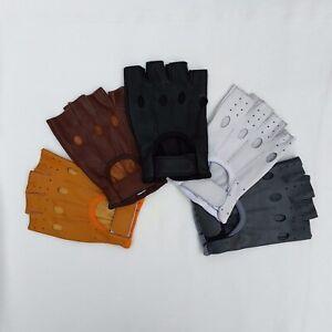 Men Soft Leather Half Finger Driving Gloves Fitness Bus Driver Finger less gym