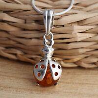 Cognac Baltic Amber 925 Sterling Silver Ladybird Pendant Jewellery
