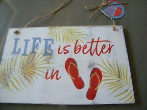 """NEU Schild Gartenschild Holzschild """" Life is better in..."""" Spiegelburg"""