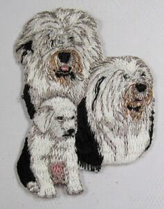 Old English Sheepdog heat seal embroidered badge