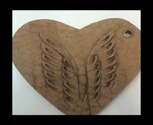 Real Leather Heart Style 8cm 100% Natural Embossed Key Ring Gift Jevelery making
