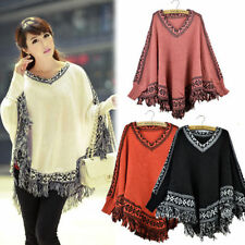 Unbranded Polyester Solid Poncho Jumpers & Cardigans for Women