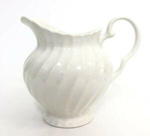 England  Classic White Swirl Water Pitcher Johnson Bros Ironstone Maybe? Vase?