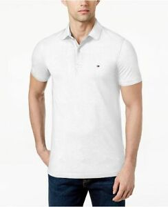 Tommy Hilfiger Men's Bright White Slim Fit Stretch Mesh Short Sleeve Polo Shirt