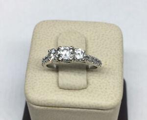 Fine 3-Stone Diamond Engagement PAST PRESENT FUTURE Ring .76 CT