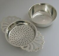 ENGLISH SOLID STERLING SILVER TEA STRAINER & DRIP BOWL STAND LONDON 1973