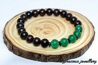 Natural Aventurine Hematite Wood Bracelet Gemstone Reiki Chakra Wooden Beaded UK