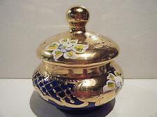 VINTAGE TRINKET-JEWELRY GLASS BOWL - BLUE WITH GOLD TONE DECORATIVE DESIGN
