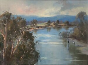 Oil Painting On Board by Wykeham Perry (Australia 1936-) of a River Scene