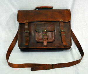 GVB Vintage real leather brown messenger cross body men's satchel bag Handmade
