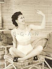 Org Vintage 1940s-50s Nude RP- Happy Smiling Woman in Chair- Bullet Bra- Panties