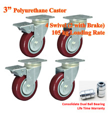 "3"" Dual Ball Bearing Polyurethane Caster Wheels, 4 Swivel Castors (2 with brake)"