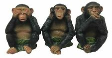 See Hear Speak No Evil Monkeys Three Wise Ape Of Jungle Figurine Set Sculptures