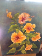 """Golden Hibiscus Oil Painting Signed 12"""" x 16"""" Signed Hazel Watson"""