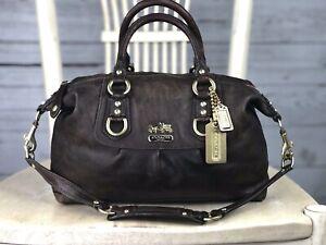 COACH Madison Sabrina Brown Leather Carryall Satchel Shoulder Handbag 12937