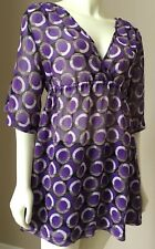 Womens NWT Kenneth Cole Plum Desert Dots Sheer Cover Up Tunic Top Dress S M