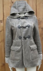 NEW LOOK Fleece Lined Hooded Toggle Button Duffle Style Jacket Size UK 14