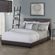 Upholstered Platform Bed Queen Size Wood Slats & Headboard Bed Frame Mattress