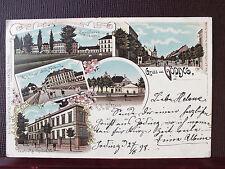 Farblitho - Göding / Hodonín - gel. 1898 - Cavallerie Kaserne - k.k. Tabakfabrik