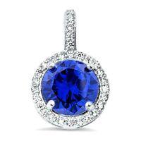3.5 ct. Tanzanite & White Sapphire Halo Pendant Necklace in Sterling Silver