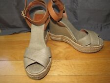 TORY BURCH Gold Metallic Canvas Platform Sandals Espadrilles Shoes 8 New!