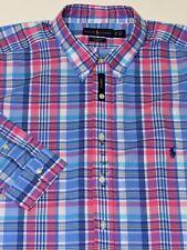 New $98 Ralph Lauren Long Sleeve Blue / Pink Plaid Cotton Poplin Shirt / XLT
