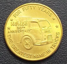 USA ANTIQUE TRUCKS WHITE SUPER POWER 3000 FIFTY YEARS ANNIVESARY RARE MEDAL