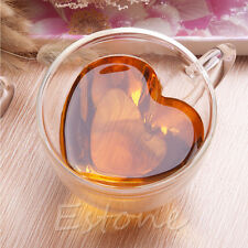 240ml Love Heart Shaped Double Wall Clear Glass Tea Cup Coffee Cups Mug Gift Hot
