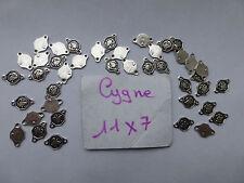 lot 40 connecteur perle fab bijou  métal blanc oiseau cygne