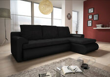 New RIGHT Corner Sofa Bed SANTI BLACK Storage, SPRING SEAT Eco Lather and Fabric