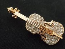 Brooch Women Pin New Austrian Crystal Violin