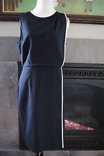 NWT J Crew Piped Wool Dress in Super 120s $228 Sz 8 Medium M 07422 Navy