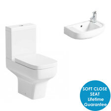 Short Projection Modern White Cloakroom inc Soft Close Seat & Wall Hung Basin