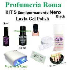 KIT 5 Layla Gel Polish Smalto Semipermanente n. 17 Nero Unghie con Lampada UV